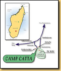 Carte, itnéraire Camp Catta Madagascar